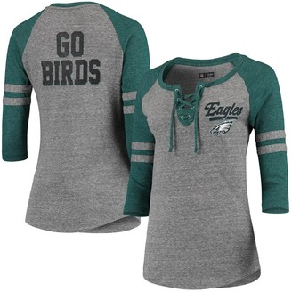 New Era Women's Heathered Gray/Heathered Midnight Green Philadelphia Eagles Lace-Up Tri-Blend Raglan 3/4-Sleeve T-Shirt