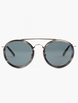 Dries Van Noten Grey Round Aviator Sunglasses