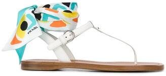 Prada ankle tie sandals