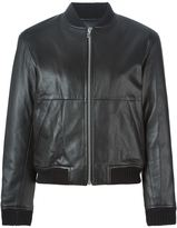 Alexander Wang leather bomber jacket - women - Lamb Skin/Polyester/Viscose - 2