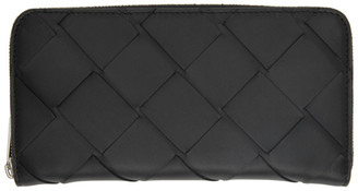 Bottega Veneta Black Maxi Intrecciato Zip Around Wallet
