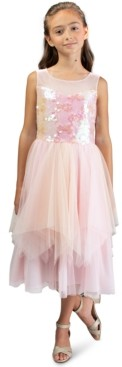 Bonnie Jean Big Girls Sequined Fairy-Hem Dress