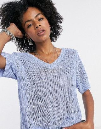 Object Emily 3/4 sleeve v-neck jusmper in lilac