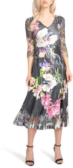 Komarov Charmeuse & Chiffon Midi Dress