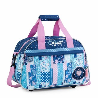 SKPAT - Polyester Printed Sports Childrens Bag. with Double Handle and Shoulder Bag. Trolley Tape. College Travel Gym. Includes Keychain. 130040 Color Blue