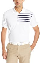Izod Men's Short Sleeve Nautical Printed Engineered Stripe Pique Golf Polo