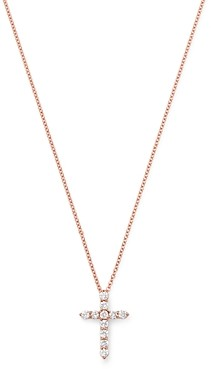 Bloomingdale's Diamond Small Cross Pendant Necklace in 14K Rose Gold, 0.33 ct. t.w. - 100% Exclusive