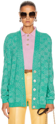 Gucci Long Sleeve V Neck Cardigan in Mint | FWRD