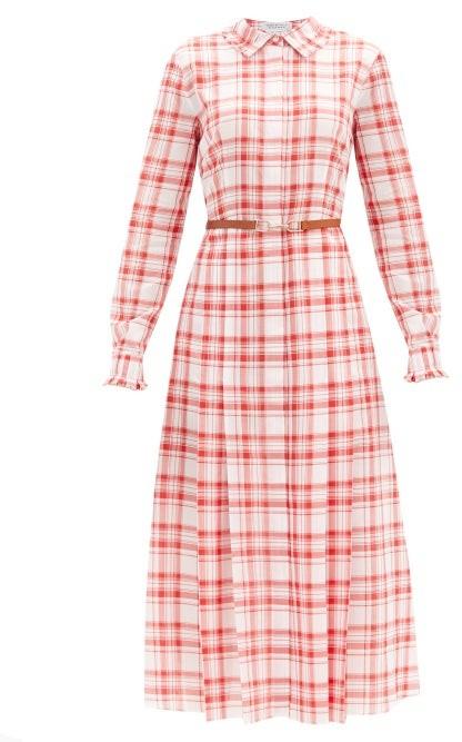 Gabriela Hearst Jane Belted Checked-cotton Midi Shirt Dress - Red White