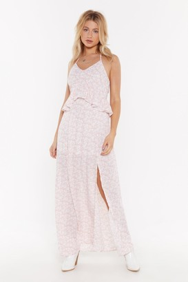 Nasty Gal Womens Let's Halter the Ending Floral Maxi Dress - Blush
