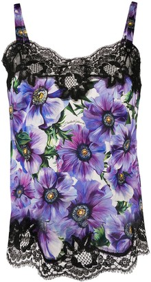 Dolce & Gabbana Anemone Print Lace-Trimmed Top