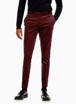 TopmanTopman Burgundy Corduroy Super Skinny Fit Suit Trousers
