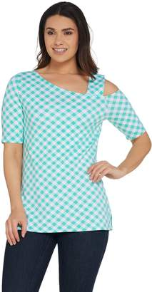 Isaac Mizrahi Live! Gingham Print One-Shoulder Knit Top