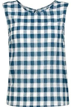 Current/Elliott The Boxy Gingham Cotton-blend Gauze Tank