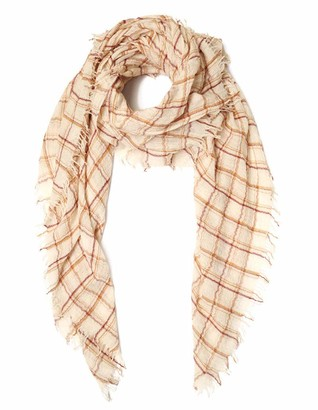 Chan Luu Three Color Plaid Wool Scarf In Seed Simulated Pearl Mix