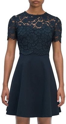 Kate Spade Rose Lace Bodice Ponte Dress (Black) Women's Dress