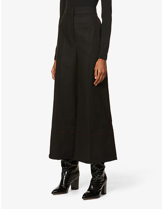 Roksanda Hasani cropped wide-leg high-rise stretch-cotton trousers