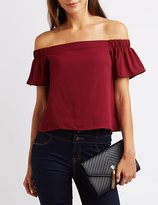 Charlotte Russe Fluttery Off-The Shoulder Top