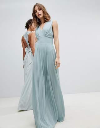 TFNC Sleeveless Maxi Bridesmaid Dress With Pleated Skirt-Green