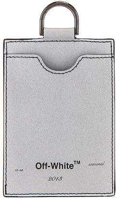 Off-White Seasonal Logo Badge Holder in Silver & Black | FWRD