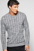 Boohoo Knitted Rib Mixed Colour Crew Neck Sweater