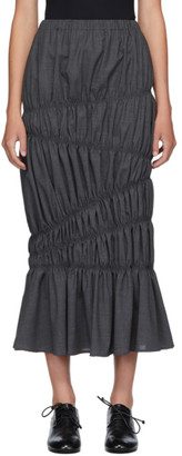 Enfold Grey Wool Light Summer Tiered Skirt