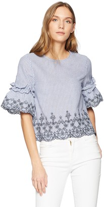 J.o.a. Women's Crew Neck Ruffled Sleeve Embroidered TOP