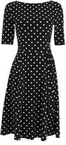 Monochrome Polka Dot Fit And Flare Dress