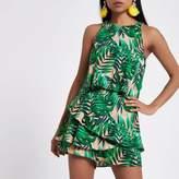 River Island Womens Green leaf jacquard tiered frill romper