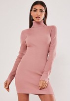 Missguided Pink Turtle Neck Knit Mini Dress