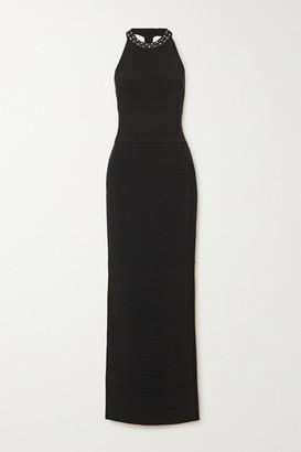 Herve Leger Swarovski Crystal-embellished Bandage Halterneck Gown - Black
