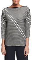 Lafayette 148 New York Pintucked 3/4-Sleeve Striped Sweater, Black Multi