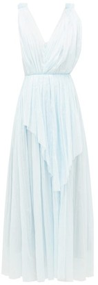 Vika Gazinskaya Crinkle-pleated Ruched Cotton-batiste Dress - Light Blue