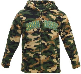 John Deere Boys' Sweatshirts and Hoodies CAMO - Green Camo Logo Microfleece Hoodie - Toddler