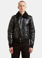 Saint Laurent Shearling Heart Pinned Leather Bomber Jacket In Black