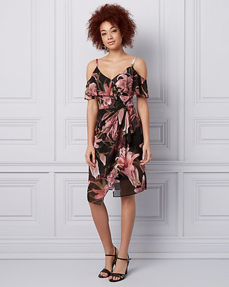 Le Château Floral Print Knit Cold Shoulder Dress