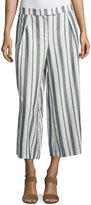Label by 5Twelve Wide-Leg Striped Cotton Pants, Ivory/Blue