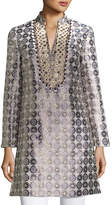 Tory Burch Embroidered Medallion Jacquard Tunic, Yellow