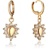 Gemini Women's Jewerly Teardrop Small Swarovski Zirconia Smally Dangle Earrings, Color: 18ct