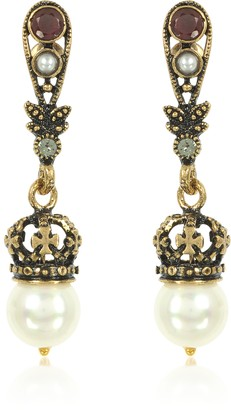 Alcozer & J Drop Crown Earrings w/Pearls