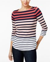 Charter Club Button-Shoulder Ombré-Striped Top, Only at Macy's