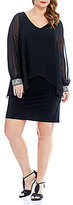 Alex Evenings Plus V-Neck Beaded Cuff Capelet Dress
