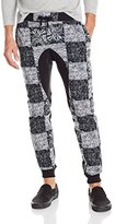 Southpole Men's Jogger Pants Fleece Fabric with All Over Checkered Patterns