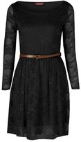 GirlsWalk Girls Walk Women's Long Sleeves Floral Lace Belted Skater Dress