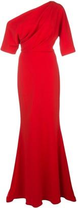 Badgley Mischka off-shoulder maxi dress