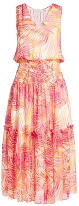 Ramy Brook Denise Palm Print Silk Midi Dress
