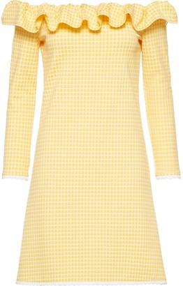 Miu Miu Off-Shoulder Checked Dress