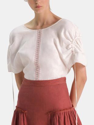 Collectiva Alicia Linen Tie Sleeve Top