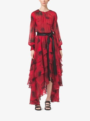 Michael Kors Poppy-Print Silk-Chiffon Tiered Dress