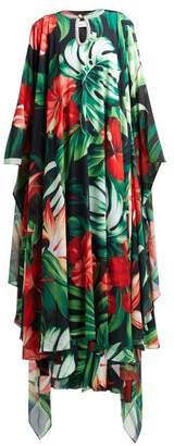Richard Quinn Crystal-embellished Hibiscus-print Crepe Gown - Womens - Green Multi